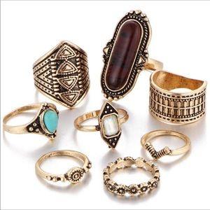 Vintage Boho Jewelry Knuckle Ring 8 pcs Set